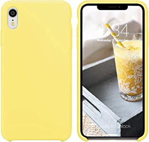 "xperg iPhone XR Case, iPhone XR Case Silicone, Slim Liquid Silicone Gel Rubber Shockproof Case Soft Microfiber Cloth Lining Cushion Compatible with iPhone XR 6.1"" 2018(Yellow)"