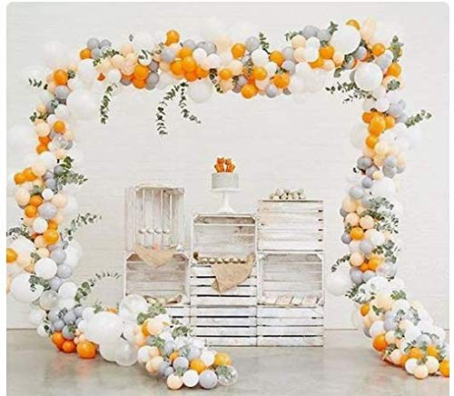 - PartyWoo Gray and Orange Balloons 80 pcs Matte Balloons Pack of Gray Balloon Pack Orange and White Balloons Peach Helium Balloons for Girls Birthday, Girls Baby Shower, Gray and Peach Wedding