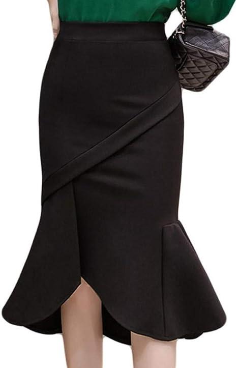 DAHDXD Faldas de Oficina para Mujer Estilo de Sirena de Moda Falda ...