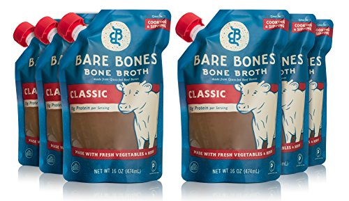 Bare Bones Beef Bone Broth – 100% Grass Fed Beef Bone Broth with Protein and Collagen, Ancient Natural Source of Nutrition, Ketogenic Diet Friendly, Whole30 Approved, Certified Paleo, 16 oz (6-Pack)