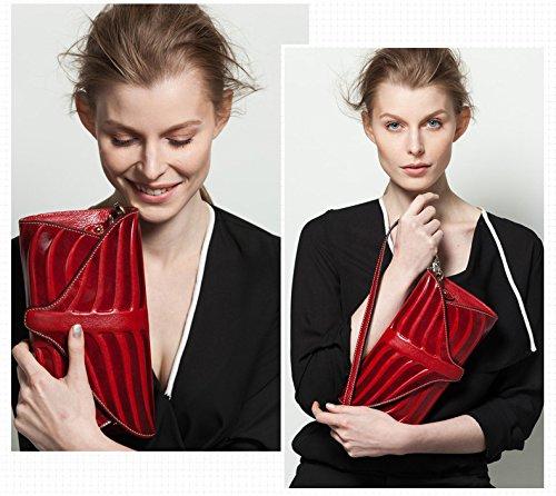 Pijushi Leaf Designer Handbags Embossed Leather Clutch Bag Cross Body Purses 22290 (One Size, Red) by PIJUSHI (Image #4)