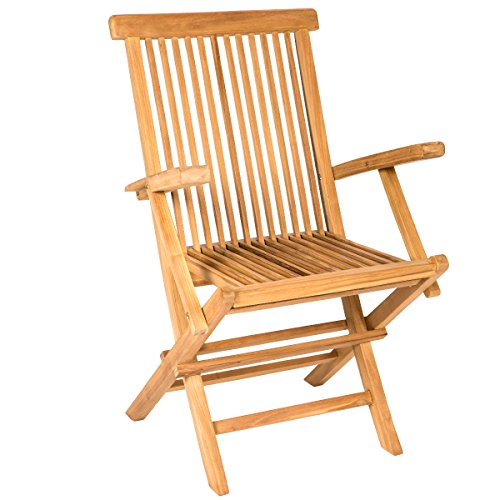 (Yankee Trader Traditional Teak Wood Folding Outdoor Chair w/Armrests)