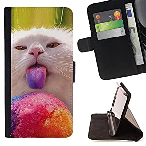 Cat Kitten Lick Nebelung American Longhair - Painting Art Smile Face Style Design PU Leather Flip Stand Case Cover FOR Samsung Galaxy Note 3 III @ The Smurfs