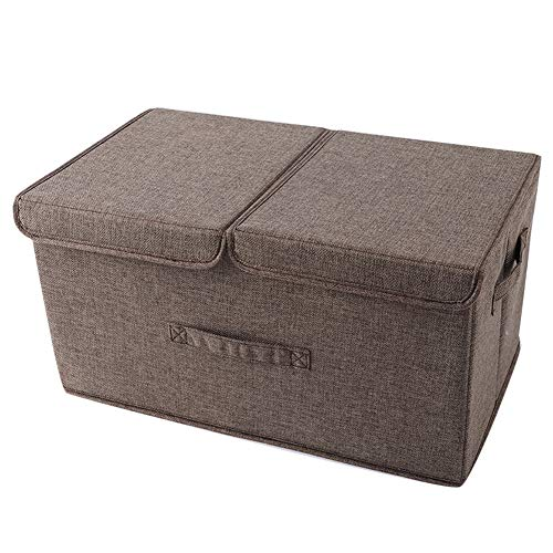 YOUTHUP Storage Bins Storage Cubes Box with Lids Linen Fabric Durable Basket Containers Organizerfor Home, Office, Nursery, Closet, Bedroom Coffee S/14L ()