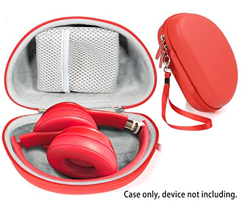 Red Zip Protective Case for Beats Solo3 Wireless On-Ear Headphones, Also for Solo 2 Wired and Solo HD (Motorola S11 Case)