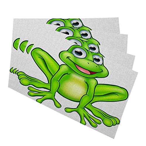 Mugod Frog Placemats A Cute Cartoon Happy Frog Mascot Character Decorative Heat Resistant Non-Slip Washable Place Mats for Kitchen Table Mats Set of 4 12