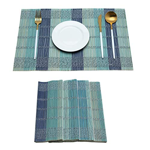 (mijia Placemat 6 Piece Set Woven Bamboo Woven Insulation Anti-Slip Non-Slip Kitchen Table Decoration,Green)