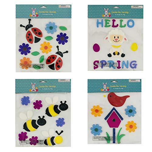 Spring & Summer Gel Sticker Window Clings Decoration Decor Bundle of 4 -