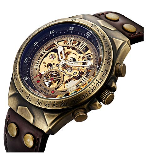 Luxury Automatic Mechanical Men's Leather Belt Fashion Steampunk Bronze Steel Waterproof Skeleton Watch (Brown)