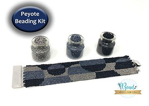 DIY Beading Kit - Gray Circles Beaded Bracelet, Peyote Bracelet, Beading Patterns, Peyote Pattern, DIY Kit, All Supplies (Peyote Bead Bracelet)