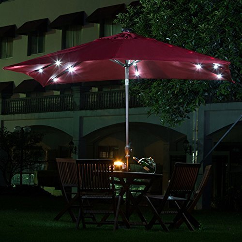 Amazon.com : Abba Patio 7 By 9 Feet Rectangular Patio Umbrella With Solar  Powered 32 LED Lights With Tilt And Crank, Dark Red : Patio, Lawn U0026 Garden
