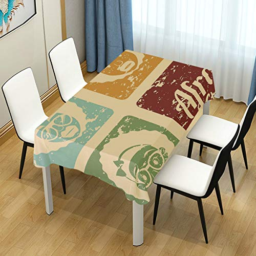 JOSENI Pop Art Style Disco Themed Arrangement Retro Dance Fever African American Culture Waterproof Tablecloth Cover for Kitchen Dinning Tabletop Decoration (Difference Between African And African American Culture)