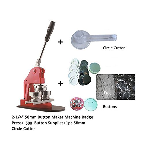 Xinghoo 2-1/4 inch (58mm) Button Badge Maker Punch Press Machine with 500 Pcs Button Parts and Circle Cutter