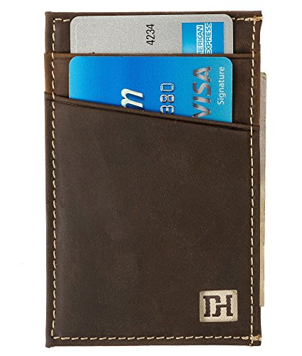 Slim Leather Wallets for Men - Credit Card Holder Front Pocket Wallets for Men - Thin Mens Wallets (Brown Leather/Tan Thread)
