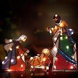 Kanstar Holy Family Lighted Indoor/Outdoor Mosaic Nativity Christmas Scene 3 Piece Set, Baby Jesus, Mary and Joseph