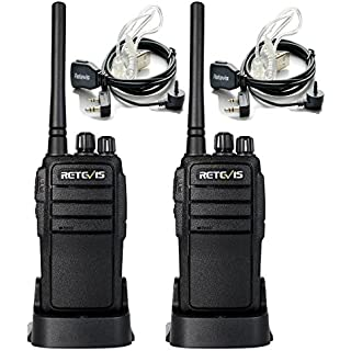 Sale Retevis RT21 Two Way Radio UHF 16 CH 2 Way Radio VOX Scrambler Walkie Talkies Rechargeable(1 Pair) with Covert Air Acoustic Earpiece(2 Pack)