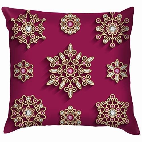 (Set Jewellery Gold Brooches Decorated Beauty Fashion Vintage Funny Square Throw Pillow Cases Cushion Cover for Bedroom Living Room Decorative 16X16 Inch)