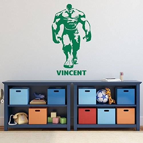 Custom Incredible Hulk Wall Decal for Boy's Room - Personalized Superhero Figure - Vinyl Decor Sticker - Kids Birthday Party Decorations - Personalized Incredible Hulk