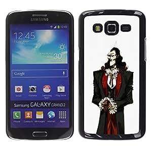 Shell-Star Arte & diseño plástico duro Fundas Cover Cubre Hard Case Cover para Samsung Galaxy Grand 2 II / SM-G7102 / SM-G7105 ( Vampire Aristocrat Man White Skin Black Hair )