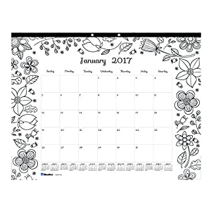 Blueline 2017 Monthly Coloring Desk Pad Calendar Garden January