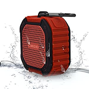 CIMOXI Bluetooth Shower Speaker Y1, Portable Outdoor Waterproof IPX4 Wireless Speaker with 5W Output, Suction Cup, Handsfree Speakerphone with Built-in Mic and 8 Hours Playtime-Red