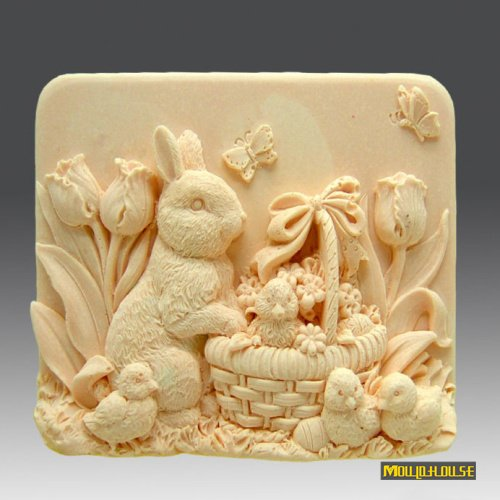 Pinkie Tm Easter rabbit Handmade soap silicone mold , silica gel mould,silicon candle moulds,gift favors wholesale