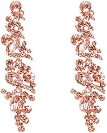 NLCAC Crystal Rose Gold Chandelier Earring Leaf Pendant Peach Earrings Dangle for Women