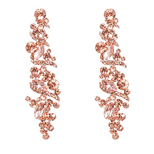NLCAC Crystal Rose Gold Chandelier Earring Leaf Pendant Peach Earrings Dangle for Women