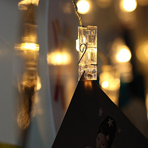 Contacts 23.6ft USB Powered LED Photo Clip String Lights(warm white)-40 Photo Clip for Indoor/Outdoor Decorate Perfect for Hanging Pictures Fnice by Contacts (Image #4)