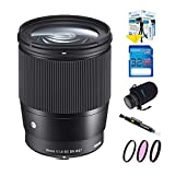 Sigma 16mm f/1.4 DC DN Contemporary Lens for Sony E Bundle Pack with Lens Protection Pouch, 3pc Filter Kit, Lens Cleaning Pen, 32 GB SD Memory Card, Professional Series Starter Kit