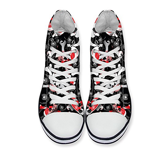 Fashion DESIGNS Sneaker Casual Lace Cool High Shoes Print Men Black up FOR U Top Skull Women 5BFqOw