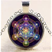 Ransopakul Metatrons Cube Tibet Silver Cabochon Glass Art Photo Pendant Chain Necklace CA6