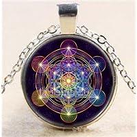 Ransopakul Metatrons Cube Tibet Silver Cabochon Glass Art Photo Pendant Chain Necklace CA6