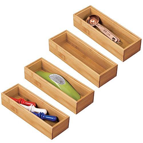 mDesign 4er-Set Schubladeneinsatz für die Küche – modularer Besteckkasten für Silberbesteck und mehr – Organizer aus…