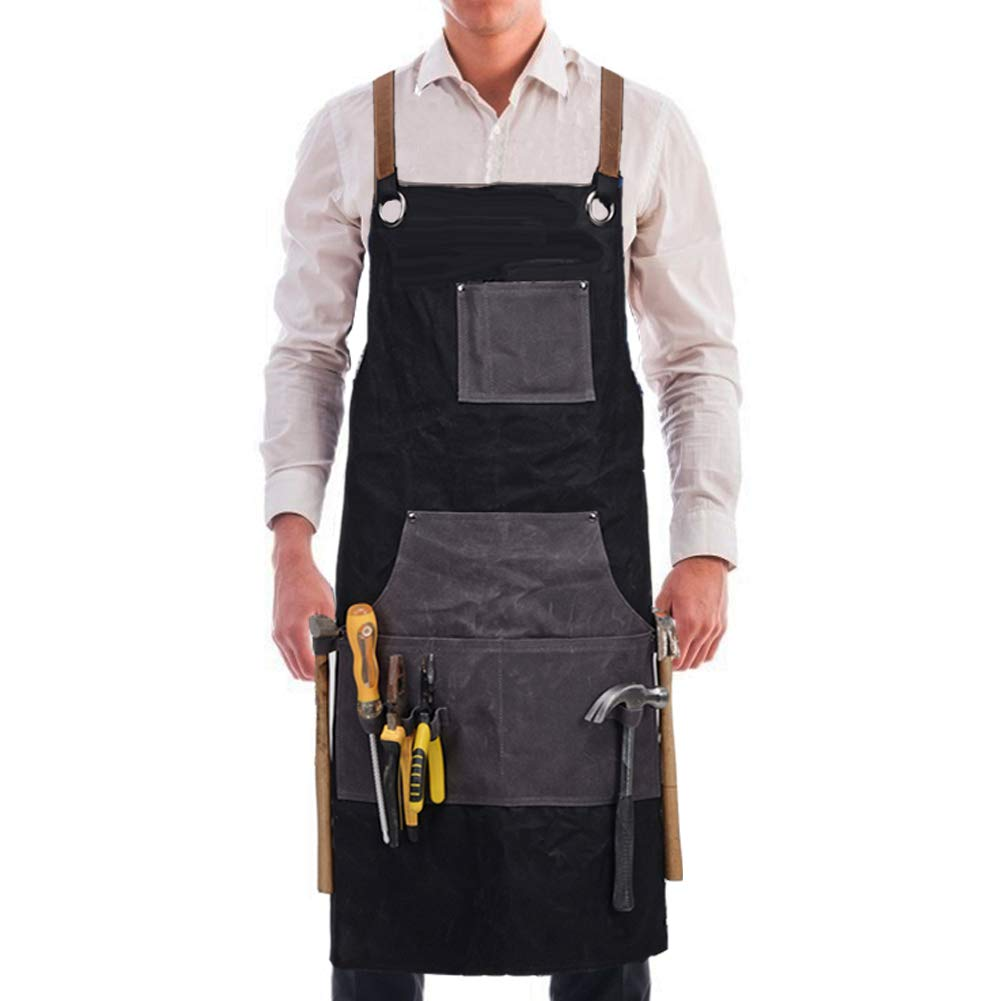 Kemy's Men Canvas Work Aprons Welding Woodworking Apron with Tool Pockets for Carpenters Heavy Duty Leather Cross Back Straps Up to XXL Classic Black, Easter Gift