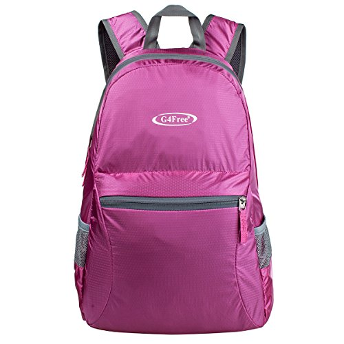 G4Free Ultra Lightweight Packable Backpack Hiking Daypack ,Handy Foldable Camping Outdoor Backpack(Pink)