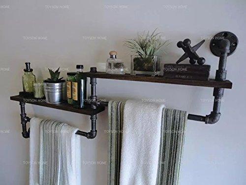 Creative retro shelf, iron bathroom, towel rack, clothing rack, wooden shelf, shelf (13050 cm)