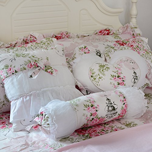 FADFAY Romantic Pink Floral Throw Pillows Candy Heart Square Shaped Sofa Bed Throw Pillows,3 Pieces (Square Pillow,Candy Pillow, Heart Pillow) (Chic Sofa Shabby Pillows)