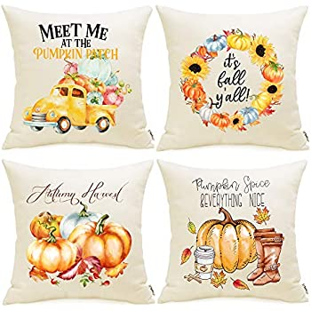 Meekio Fall Decorations for Home Set of 4 Fall Pillow Covers 18 x 18 Autumn Harvest Theme Cushion Covers for Fall Decor Thanksgiving Gifts