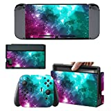 Protective Skins Stickers Cover for Nintendo Switch Console and Gray(Red, Blue)Joy con - Vinyl Decals Protector Set for Switch - Stars