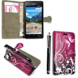 Huawei Y6 Case, Kamal Star® Purple Butterfly Book Premium PU Leather Magnetic Case Cover + Stylus