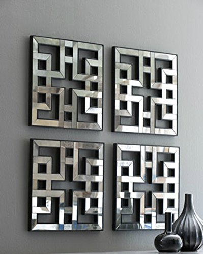 Square Fretwork Wall Mirrors Modern Panels Set of 4