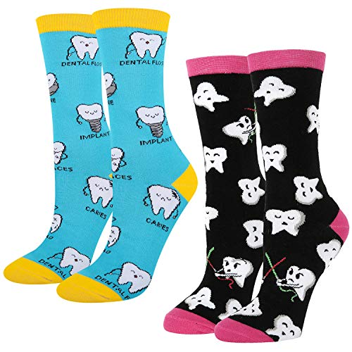 (Women's Novelty Crazy Funny Teeth Patterned Dental Crew Socks, Dentist Gift)