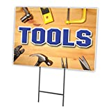 Tools 12''x16'' Yard Sign & Stake Outdoor Plastic coroplast Window