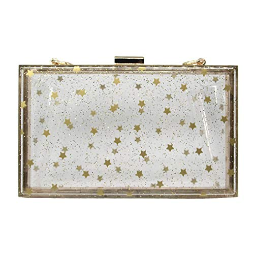Star Clutch Women Bag Evening Acrylic Purse Sparking Approved Stadium Clear Box EROUGE Crossbody aHcRWW