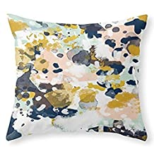 Society6 Sloane - Abstract Painting In Modern Fresh Colors Navy, Mint, Blush, Cream, White, And Gold Throw Pillow Indoor Cover (18 x 18) by WAOI
