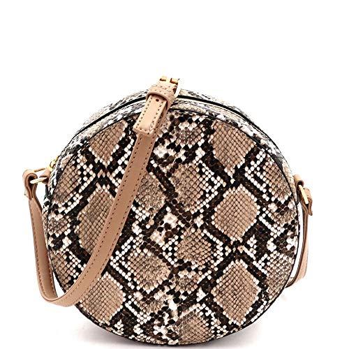 (Sexy Cute Classy Snake Leopard Print Vegan Leather Round Crossbody Shoulder Bag Purse Satchel)
