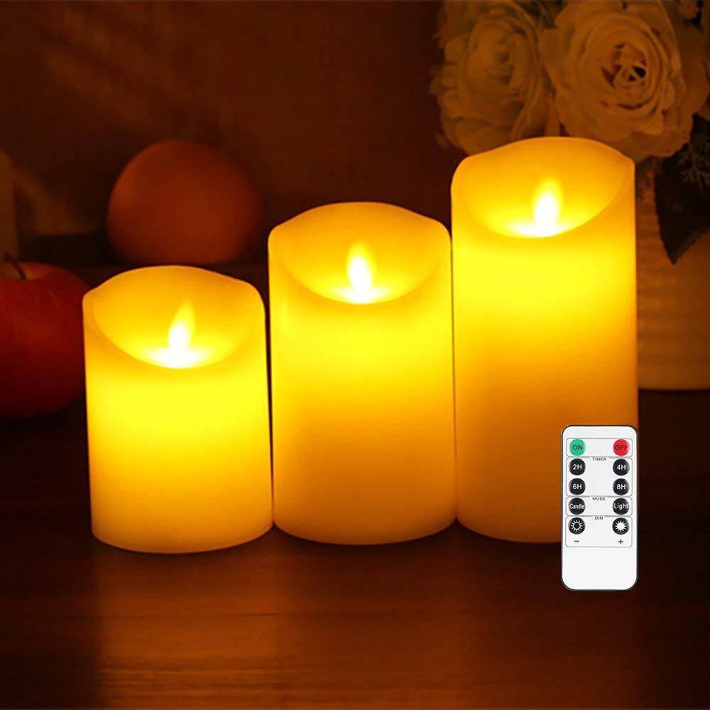 Kambo Bougies LED 3 Set 45 6 Bougies Sans Flammes led Telecommande /à 10 Touches avec Fonction de Minuterie R/éelles Cire Lumi/ère D/écorative No/ël F/êtes Mariage Anniversaire
