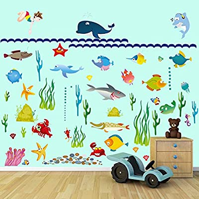 Amazon.com: decalmile Under The Sea Fish Wall Stickers Ocean Under ...