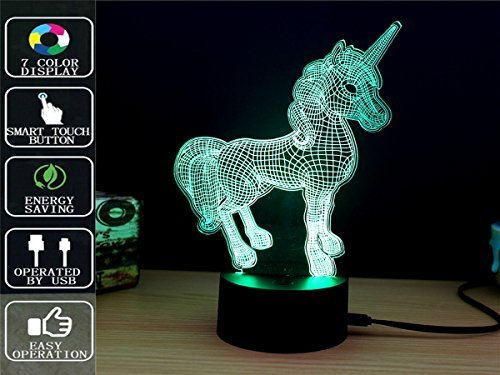 Unicorn 3D Night Light Touch Table Lamp, Fipart 7 Color 3D Phantom Atmosphere Light, With Acrylic Base And USB Decorative Intelligent LED Lights
